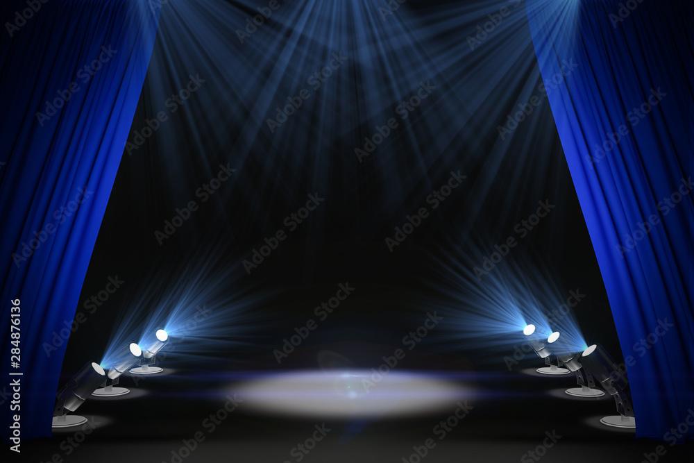 Fototapeta Illuminated black stage with curtains