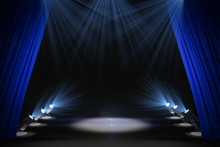 Illuminated Black Stage With Curtains