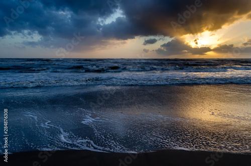 Sunset on the Mediterranean Sea. Anzio, Italy Canvas Print