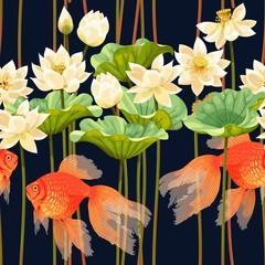 FototapetaSeamless pattern with white lotus and fish