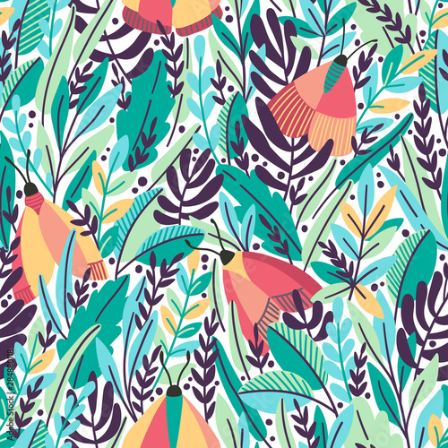 Fotografie, Obraz Vector floral seamless pattern with summer herbs and butterflies