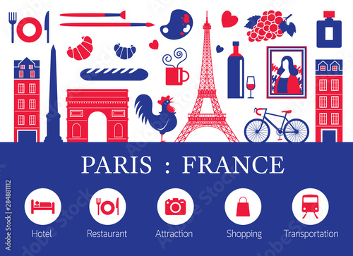 Obraz Paris, France Landmarks and Travel Objects with Accommodation Icons - fototapety do salonu
