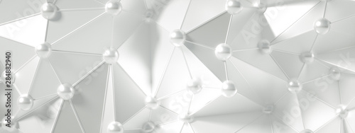 White background with crystals, triangles. 3d illustration, 3d rendering. - 284882940
