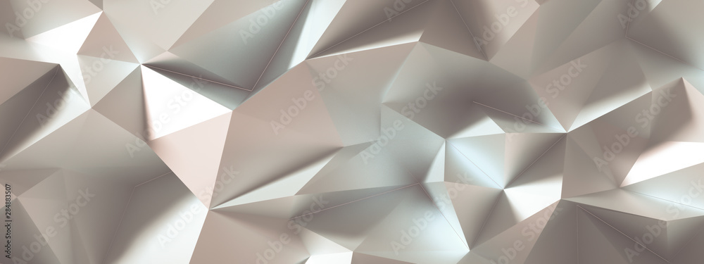 Fototapeta Beige background with crystals, triangles. 3d illustration, 3d rendering.