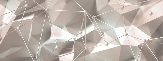 Beige background with crystals, triangles. 3d illustration, 3d rendering.