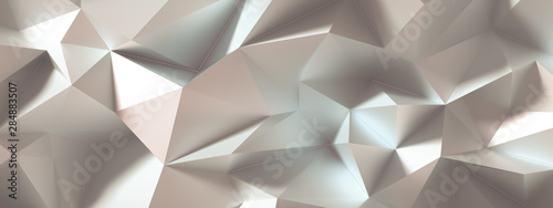 Beige background with crystals, triangles. 3d illustration, 3d rendering. - 284883507