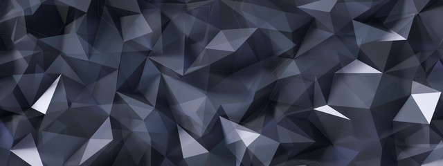 Black gray background with crystals, triangles. 3d illustration, 3d rendering.