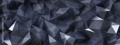 Czarne szare tło z kryształami, trójkąty. 3d ilustracja, 3d rendering.