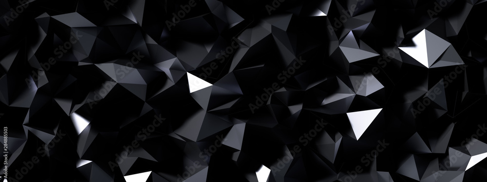 Fototapeta Black gray background with crystals, triangles. 3d illustration, 3d rendering.