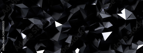 Black gray background with crystals, triangles. 3d illustration, 3d rendering. - 284885503