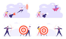 Business Man Shoot With Bow Aiming Arrow To Target. Businesswoman Setting On Fire Cannon With Businessman Flying On Paper Plane. Goals Achievement Mission, Challenge Cartoon Flat Vector Illustration