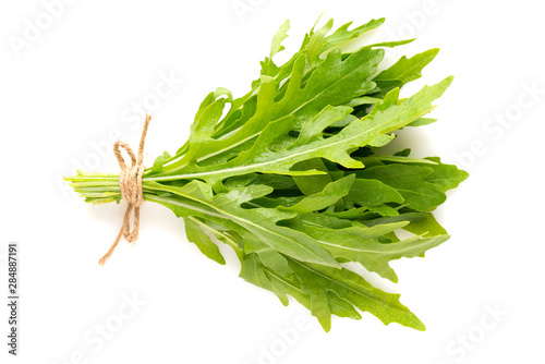 bunch of fresh arugula isolated on white background top view Canvas Print