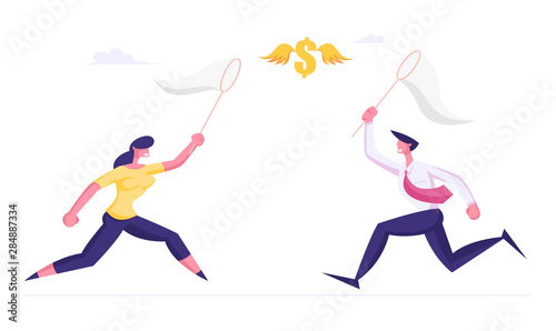 Photo Businessman and Businesswoman Chasing Flying Dollar Sign Trying to Catch it with Butterfly Net