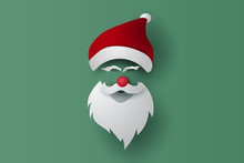 Merry Christmas And Happy New Year Mask On Isolate Background. Santa Claus Hipster Beard And Hat With Card.Vintage Banner Minimal Poster Design For Xmas. Creative Paper Cut And Craft Style.vector.