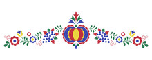 Traditional Folk Ornament, The Moravian Ornament From Region Slovacko, Floral Embroidery Symbol Isolated On White Background