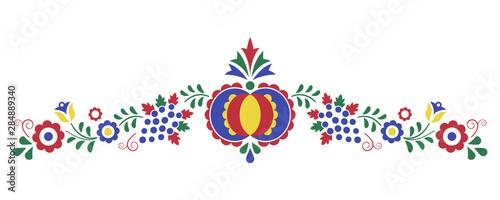 Foto Traditional folk ornament, the Moravian ornament from region Slovacko, floral em