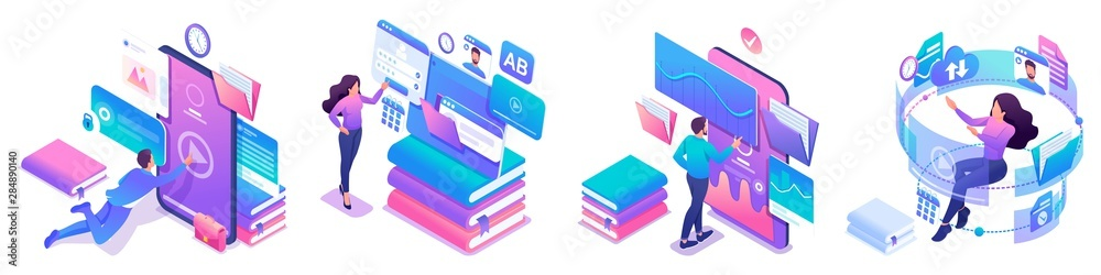 Fototapeta Isometric set of bright concepts on the topic of learning, young people are online education using tablets and phones
