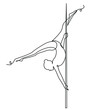 Girl performs exercises one line drawing on white isolated background. Vector illustration