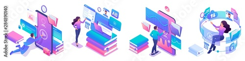 Isometric set of bright concepts on the topic of learning, young people are online education using tablets and phones