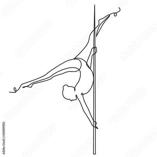 Fototapeta Girl performs exercises one line drawing on white isolated background. Vector illustration obraz