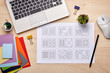 canvas print picture - Editorial designer desk with publication layout