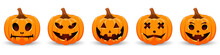 Set Pumpkin On White Backgroun...