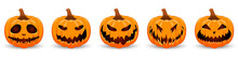 Set Pumpkin On White Backgroun...