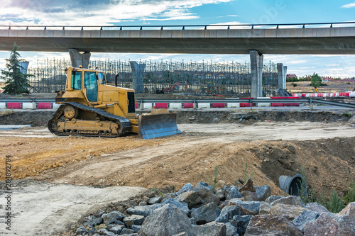 Stampa su Tela Machinery in the construction works of an overpass