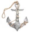 Maritime Dekoration: Metall Anker silber isoliert auf weiß mit Schnur zum Aufhängen