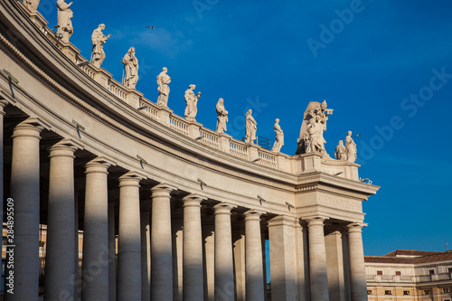 Photo Detail of the Bernini Colonnade at Vatican City in a beautiful spring day