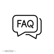 Faq Icon, Frequently Information Question, Thin Line Symbol On White Background - Editable Stroke Vector Illustration Eps 10