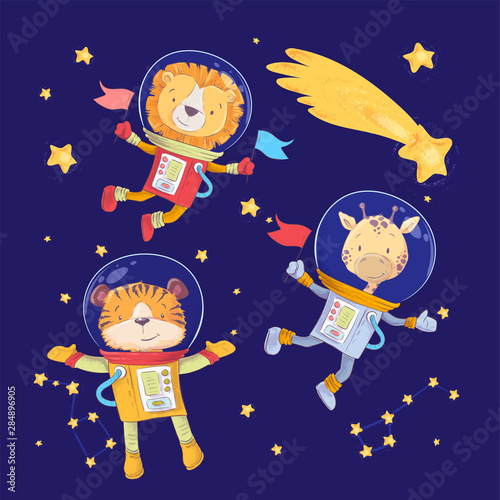 Photo Cartoon cute animals lion tiger and giraffe astronauts in space