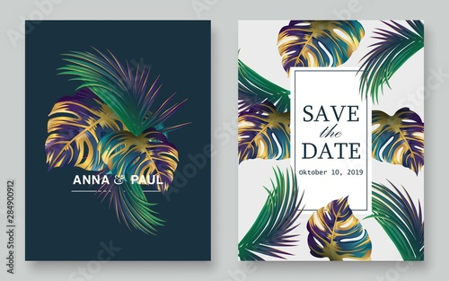 Fototapeta Luxury Wedding Invitation Set Tropical Leaves Cards Design Wedding Cards Hawaii Wedding Invitation Cards Vector Eps 10