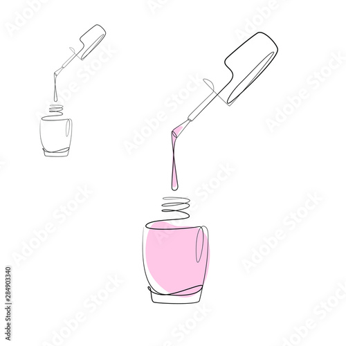 Fotografía Nail varnish one line drawing on white isolated background for store, banner and business card