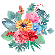 Flower Bouquet Isolated Waterc...