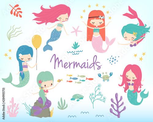 Cute little cartoon mermaids clip art. Vector illustration Wall mural