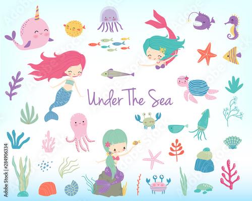 Mermaids, sea animals and sea plants Wall mural
