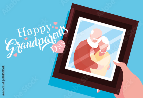 Cuadros en Lienzo happy grandparents day poster with photo of old couple