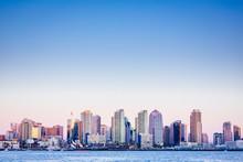 USA. California. San Diego Skyline From The Harbor At Dusk.