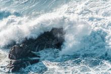 Waves Crushing On The Atlantic Ocean Shore