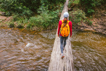 Rear View Of Woman Walking On Fallen Tree Across The River
