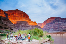 Rafters Camp At Sunset, Western End Of The Grand Canyon National Park, Above The Colorado River, Arizona, USA