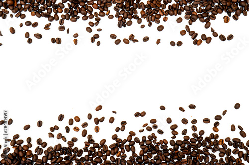 Canvas Prints Cafe Coffee beans isolated on white background with copyspace for text. Coffee background or texture concept