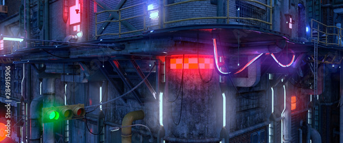 3D illustration of futuristic cyberpunk city Poster Mural XXL