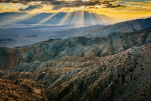 A View Of The Coachella Valley And San Jacinto Peak At Sunset From Keys View In Joshua Tree National Park, California, USA
