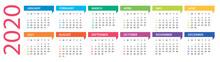 2020 Year Calendar - Vector Il...