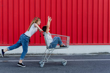 Sisters With Shopping Cart In ...