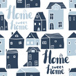 Vector seamless pattern with decorative houses