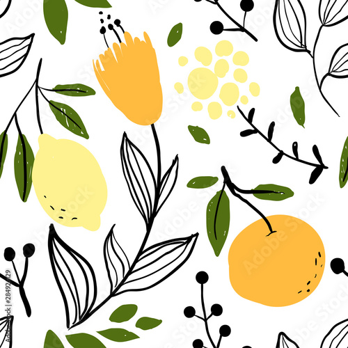 Orange, lemon and flower seamless pattern - 284924129