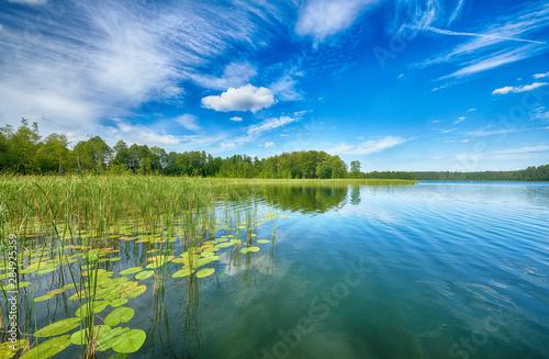 Obraz Beautiful summer day on masuria lake district in Poland - fototapety do salonu